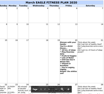 March Eagle Fitness Plan 2020