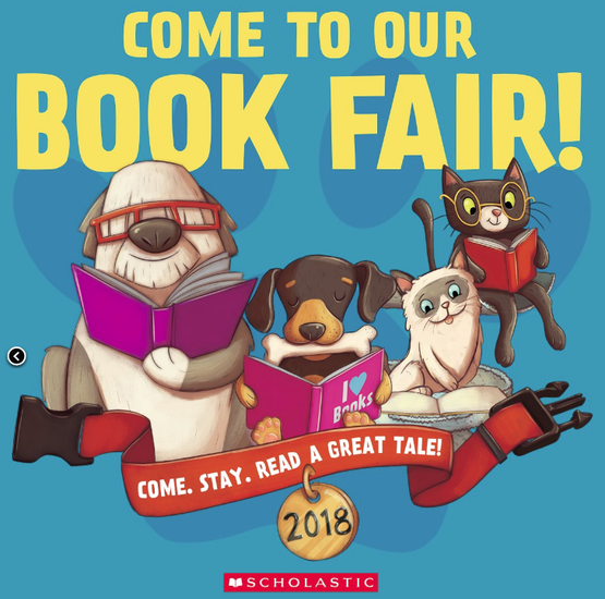 Come to the Book Fair words with dogs reading books.
