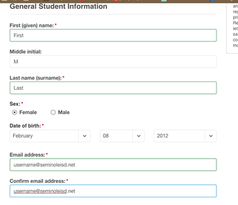 Begin filling in your information