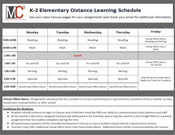 October 12 - 14 Distance Learning Schedule for Kindergarten, 1st, & 2nd Grades