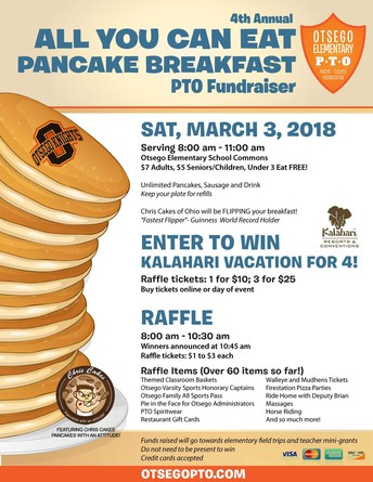 Elementary PTO Pancake Breakfast & Kalahari Raffle