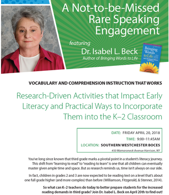 On April 20, 2018 Dr. Isabel L. Beck will be at SWBOCES in a Rare Speaking Engagement
