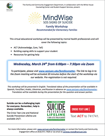 Signs of Suicide Family Workshop March 24, 6:00pm. Click for details.