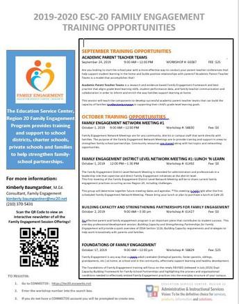 ESC-20 Family Engagement Professional Development Opportunities