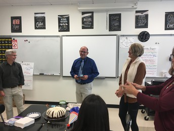 The Math Department celebrated Mr. Ray's 50th birthday recently. Gotta love 'Nothing Bundt Cakes!!""