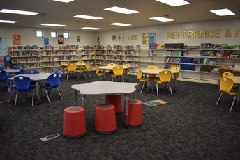 A photo of the media center at Westwood Heights Elementary School