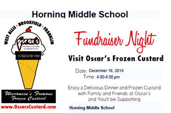 Recaudador de Fondos de Oscar's Frozen Custard ¡Ven a Apoyar a tu Escuela!