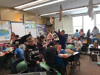 Ms. Tantardino's class celebrating Valentine's Day