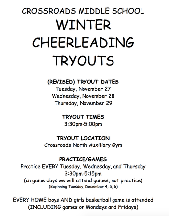 CHANGE IN CHEER TRYOUT DATES