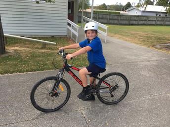 Sonny riding his bike
