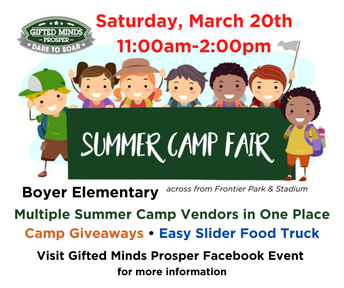 Gifted Minds Prosper Summer Camp Fair - March 20th