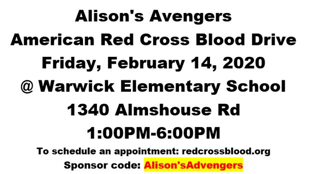Alison's Avengers Memorial Blood Drive, Feb 14, 1-6 PM