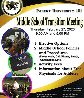 Middle School Transition Meeting-  Thursday, February 27, 2020