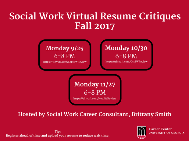 Uga Social Work Students This Is An Opportunity For You To Have Your Resume  Reviewed Virtually By A Member Of The Uga Career Center Staff  Uga Career Center Resume