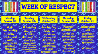 Week of Respect 10/5 - 10/9