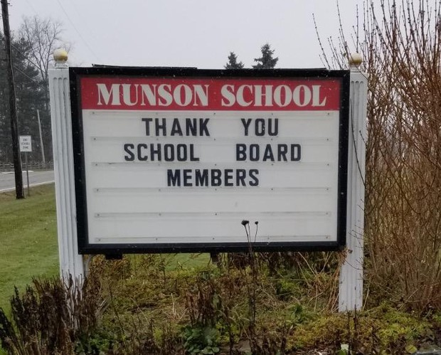 Munson Elementary marquee - BOE Thank You Message