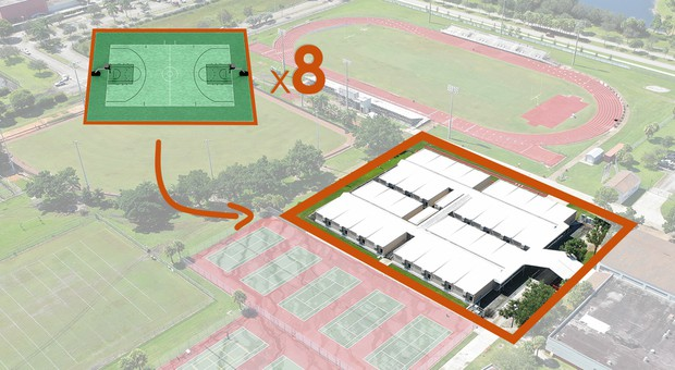 A graphic that shows that the location of the temporary classrooms will be replace with basketball courts