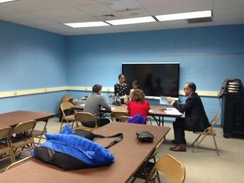 Robotics Team Talking With District Judges