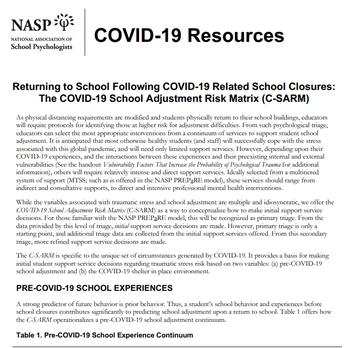 NASP: Returning to School Mental Health Service