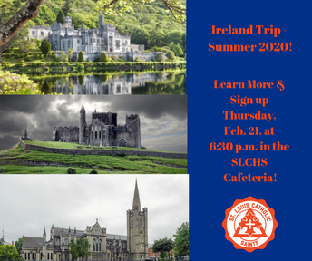 Want to Travel to Ireland with SLCHS? Informational Meeting Tonight at 6:30!
