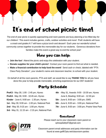 Last Day to Donate to End of Year Picnics - Friday, May 24
