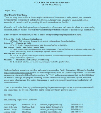 Important information from the Counselors