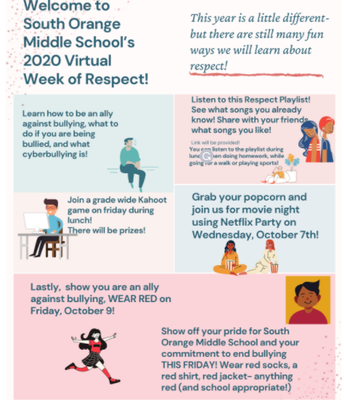 South Orange Middle (SOMS) Week of Respect Activities