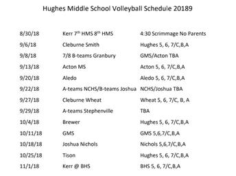 Hughes Volleyball Schedule