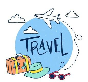 illustration of travel, luggage, hat and sunglasses
