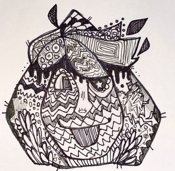zentangle drawing of a face
