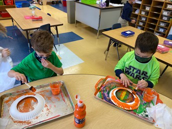 Painting our leprechaun masks