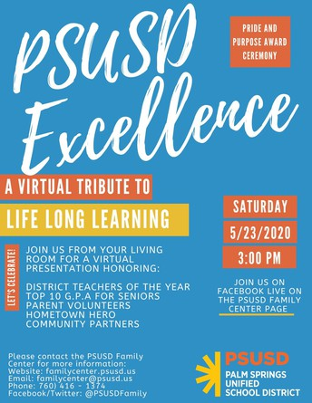 PSUSD Excellence - Virtual Family Award Ceremony