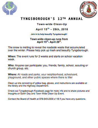 Tyngsborough's 12th Annual Town-wide Clean-up