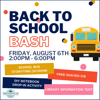 back to school bash promo graphic with multi-color blocks and a school bus