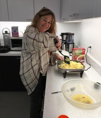 """Toni Siciliano says """"I will stir the scrambled eggs!"""""""