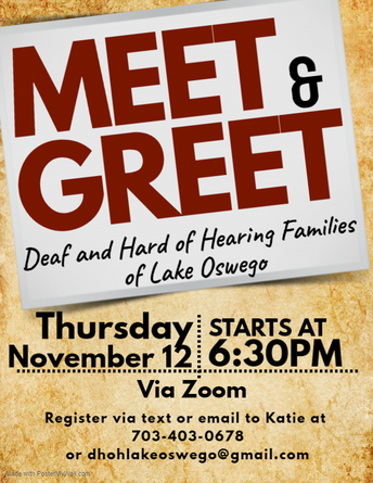 Meet & Greet for Deaf and Hard of Hearing Families of Lake Oswego