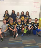 Mrs. Wright's students celebrating Blue and Gold Day!