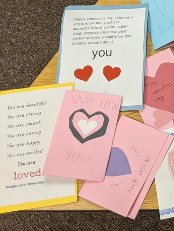 Students send Valentines to seniors in area assisted living facilities