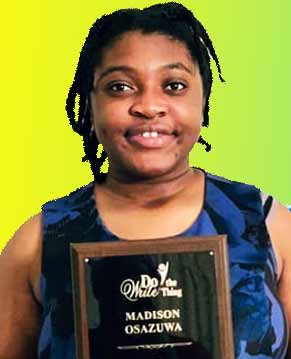 Madison Osazuwa holding a plaque (photo by Do the Write Thing)