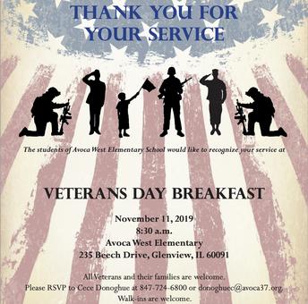 Veterans' Day Breakfast Nov. 11 at Avoca West