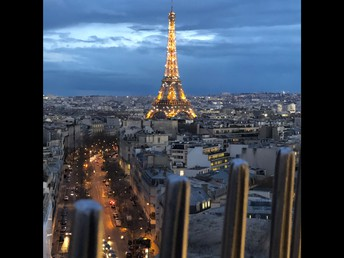 View of the Eiffel Tower from atop the Arc de Triomphe