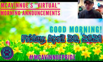 "McAvinnue's ""Virtual"" Morning Announcements"