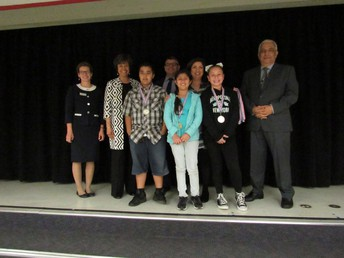 Some History Day Awardees with Board Member Mr. Holguin