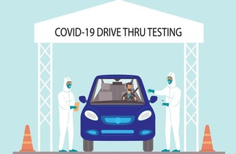 COVID-19 drive thru testing - Eastfield College