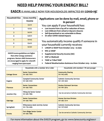 EASCR Utility Assistance for COVID-19 Impacted Families
