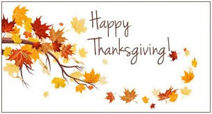 There will be NO SCHOOL November 25th, 26th, or 27th for Thanksgiving Break