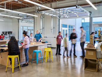 Inspired by Stanford's Design Thinking Studio, Wy'East's STEAM wing emphasizes collaboration,