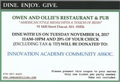 Dine in or Take out tonight at Owen and Ollie's in Dracut.
