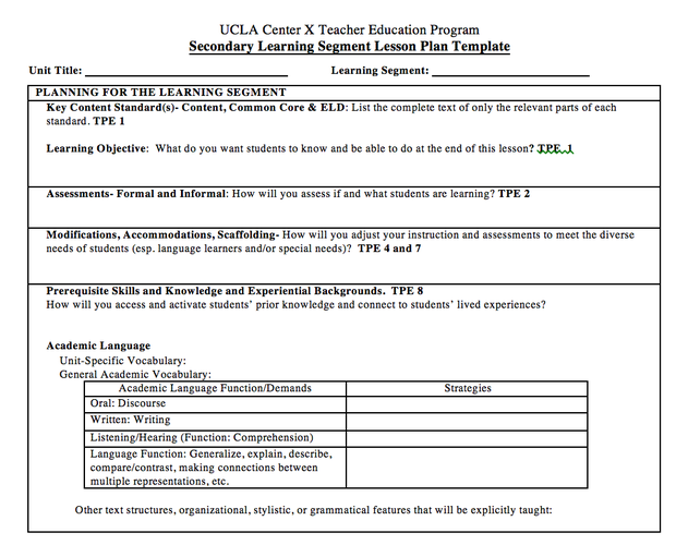 UCLA TEP WEEK Smore Newsletters For Education - Lesson plan template for special needs students