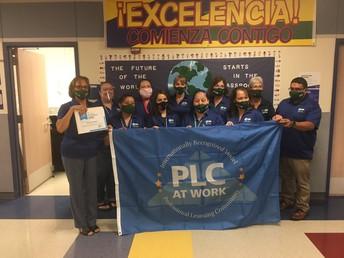 Garcia Elementary receives their National PLC flag!